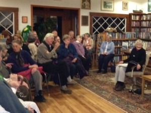 Mary Bangs entertains a full house with her stories of working on the farms in WWII.