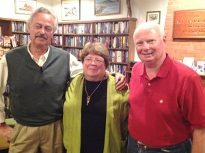 Steve Black, Maine poet Emily Rand Breitner and John Webster enjoyed an evening of sharing and reading of poetry.