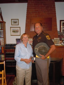 Cumberland County Sheriff, Kevin Joyce and Merrymeeting Bay Triad representative Connie Lewis Hooker presented an informative program talking about elder scams to an enthusiastic crowd on Thursday evening.